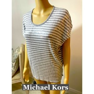 Michael Kors Sequined Striped Top Sz PS